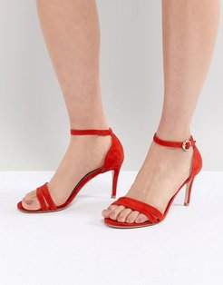 Heeled Strappy Sandals in Suede-Red
