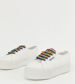 2790 exclusive white chunky sneakers with rainbow laces