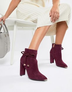 Burgundy Suede Heeled Ankle Boots with Bow-Red