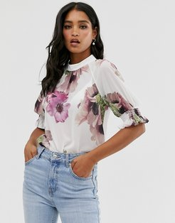 Cayliee puff sleeve floral top-Multi