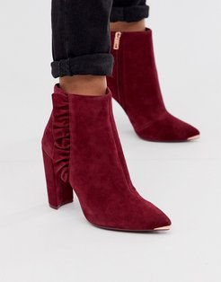 Frillis ruffle heeled ankle boots in berry suede-Black