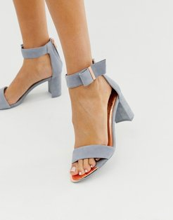 gray suede barely there block heeled sandals