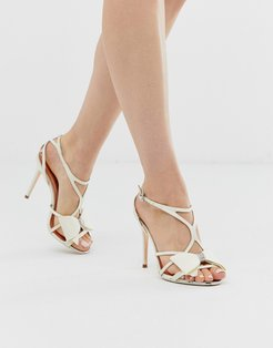 ivory satin bow detail heeled sandals-White