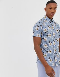 shirt with floral print in blue