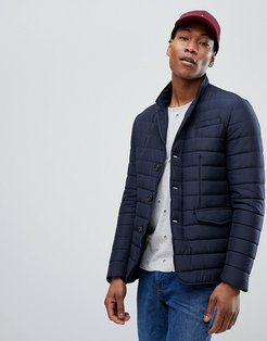 Quilted Padded Blazer-Navy
