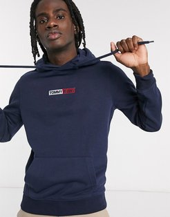 embroidered box logo hoodie slim fit in navy