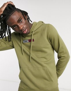 embroidered box logo hoodie slim fit in olive green