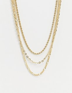 layered neck chain in gold