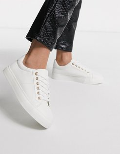 lace up sneakers in white