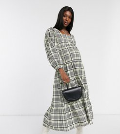 check tiered smock dress in green