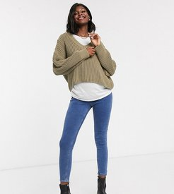 Joni overbump skinny jeans in mid wash-Blue