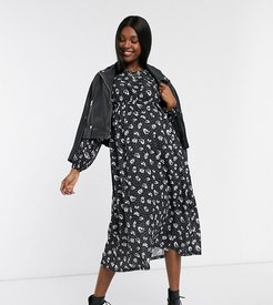 midi smock dress in black floral print-Multi