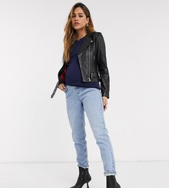mom overbump jeans in bleach wash-Blue