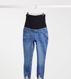 mom rip hem overbump jeans in mid wash-Blue