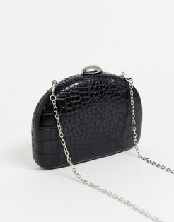 black mock croc half moon clutch bag