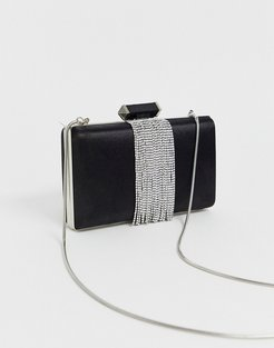 black satin box crossbody bag with silver chain