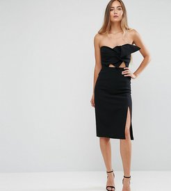 Bow Front Bandeau Pencil Dress With Split Detail-Black