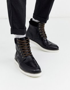 hybrid lace up boot in black