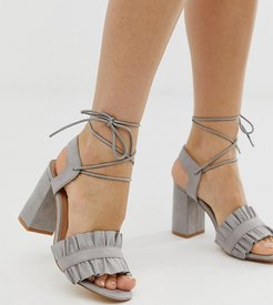 wide fit ruffle tie leg heeled sandals-Red