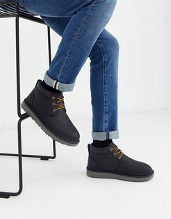 Neumel utility lace up short boots in black leather
