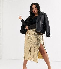 bodycon pencil skirt in gold sequin two-piece