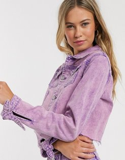 cropped denim jacket in overdyed purple