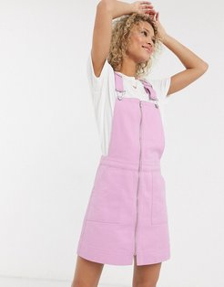overdyed pink denim overall dress in pink