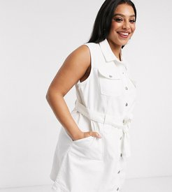 sleeveless denim dress in white