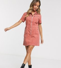 shirt dress in cord-Pink