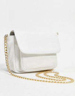 leather cross body bag in white
