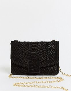 small leather cross body purse bag in black