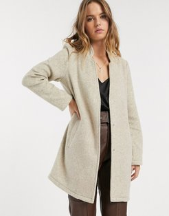 brushed tailored jacket in nude-Gray