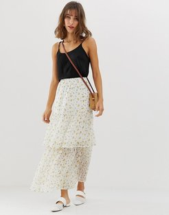 ditsy floral tiered maxi skirt-Cream
