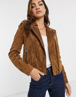 real suede biker jacket in tan-Brown
