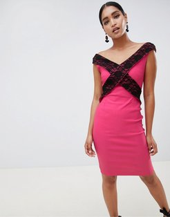 cross front lace pencil dress-Pink