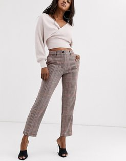 check tailored pants-Beige