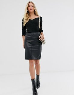 faux leather skirt-Black