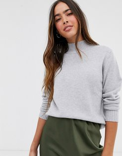 knitted sweater with high neck in gray