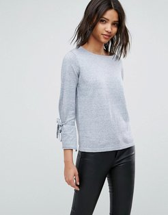 Sweater With Tie Detail-Gray