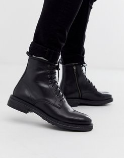 wolf lace up boots in black leather
