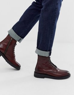 wolf lace up boots in burgundy leather-Red