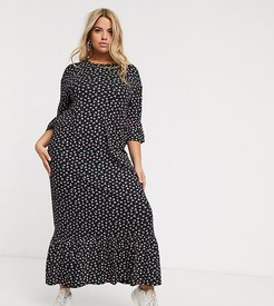maxi smock dress with peplum hem in ditsy floral-Black