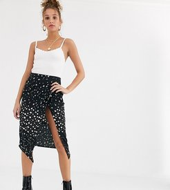 midi skirt with split in star floral mixed print-Black