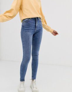 body organic cotton high waisted skinny jeans in mid blue