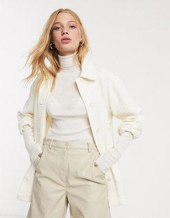 crinkle overshirt in off-white-Cream