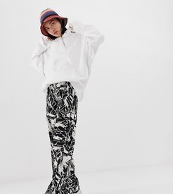 wide leg pants in black and white forest print-Multi