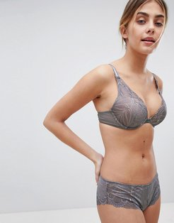 Refined Glamour Triangle Padded Bra-Gray