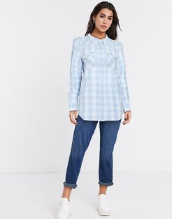 western check shirt in blue
