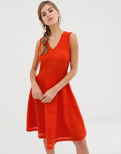 Caia sleeveless skater dress-Red
