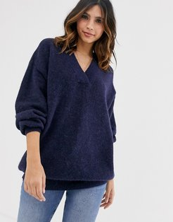 oversized v neck knitted sweater-Navy